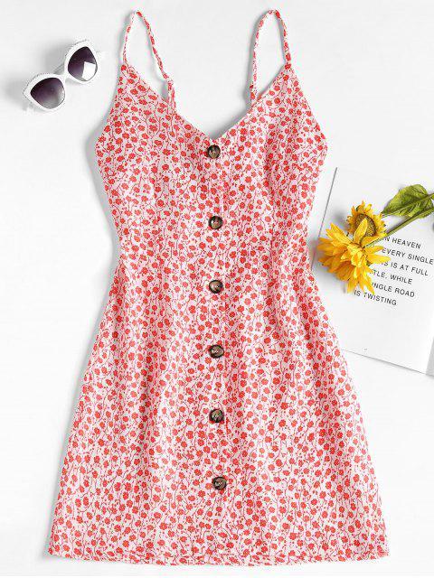 Mini-robe Boutonnée et à Imprimé Floral - Rouge M Mobile