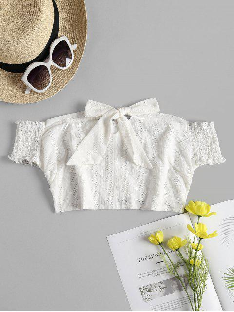 Broderie Anglaise Off Shoulder Crop Top - Blanco L Mobile