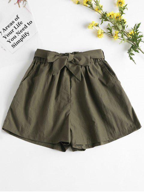 fashion High Waisted Paper Bag Shorts - ARMY GREEN S Mobile