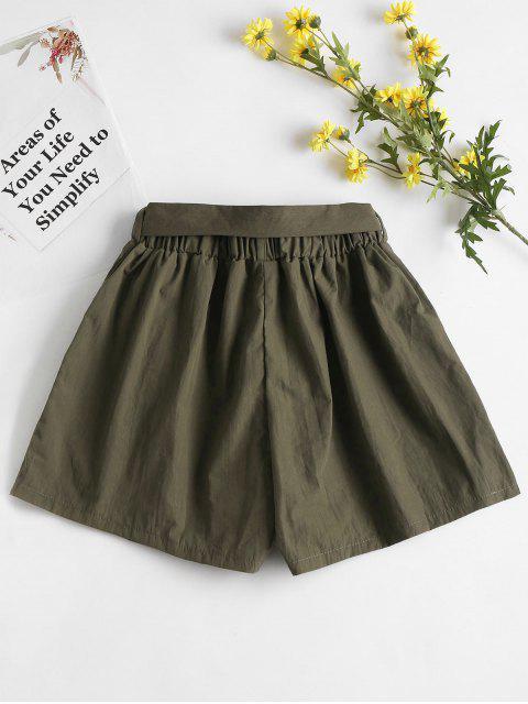 Short Taille Haute en Papier - Vert Armée M Mobile