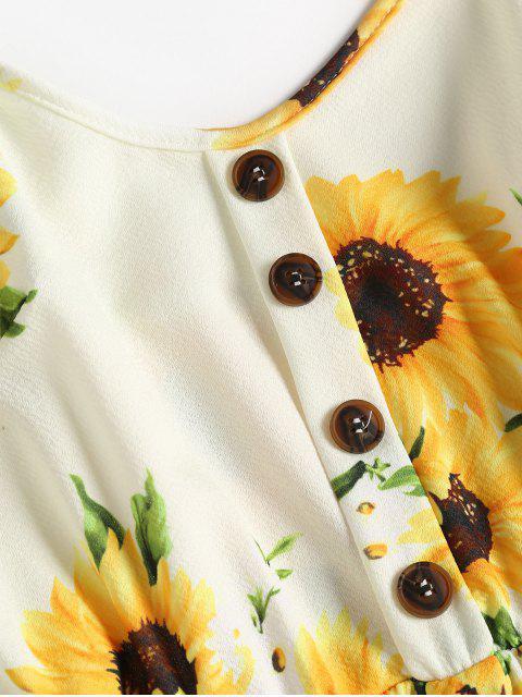 sale Button Sunflower Print Midi Dress - MULTI 2XL Mobile