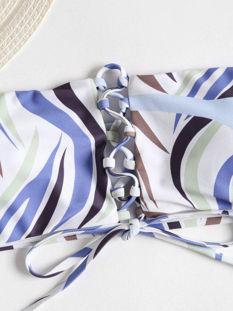 Schnürung Schulterfreier Bikini Set - Weiß L Mobile