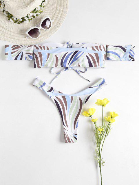 women Lace-up Off The Shoulder Bikini Set - WHITE M Mobile