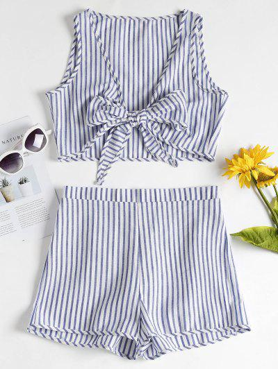 Striped Crop Top And Shorts Matching Set - Blue S
