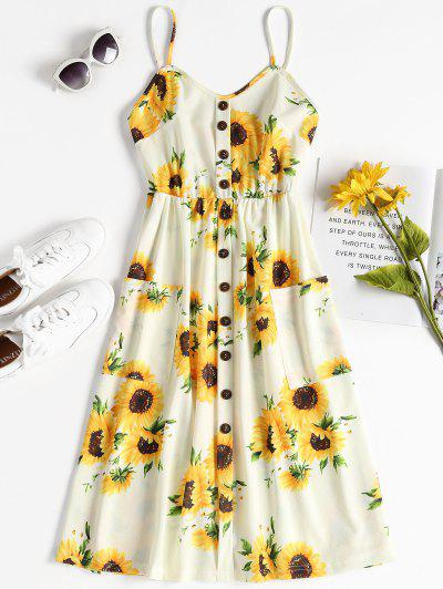 Button Sunflower Print Midi Dress - Multi L