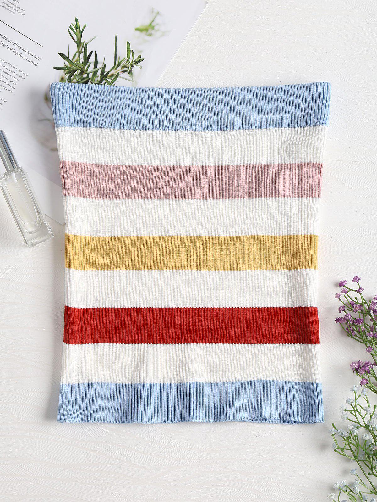 Ribbed Colorful Striped Tube Top 268334801