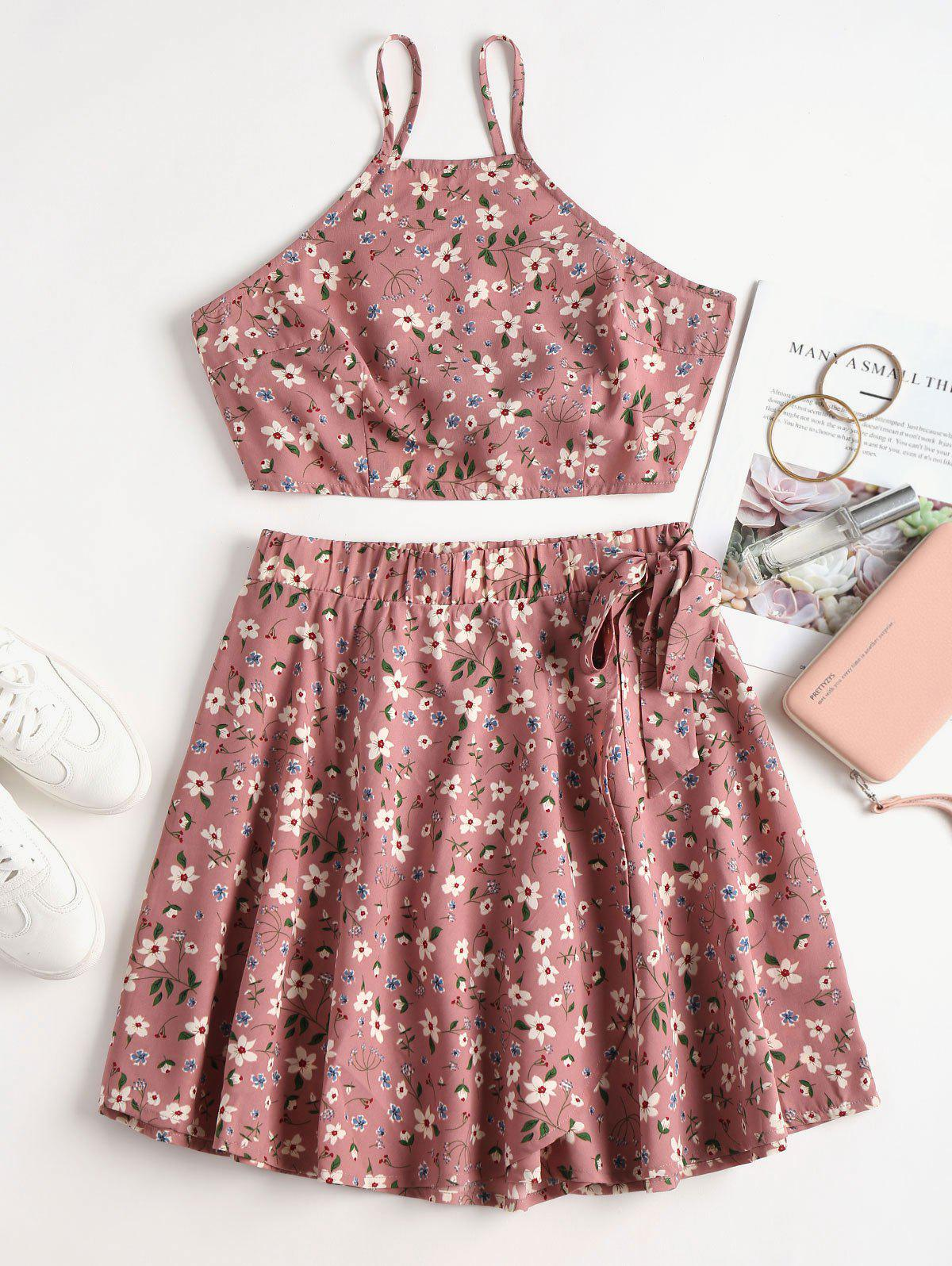 Floral Print Knotted Skirt Set 266615701