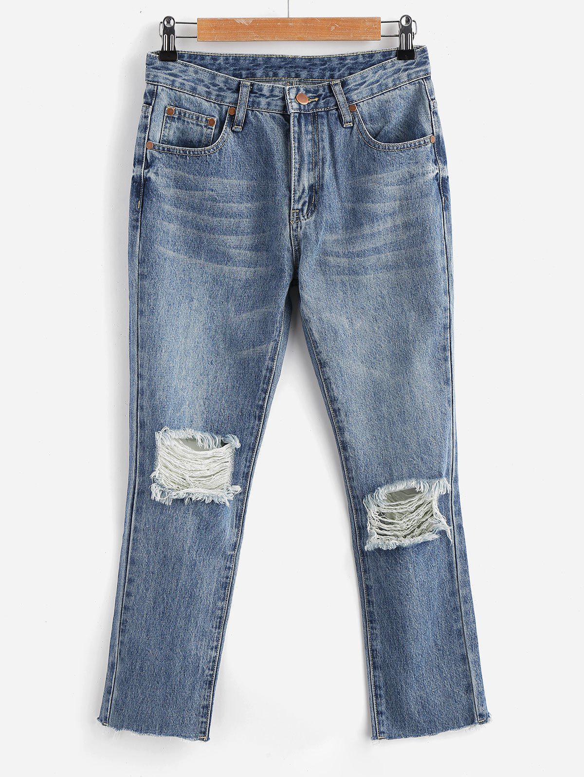 Zippered Ripped Jeans 269038602