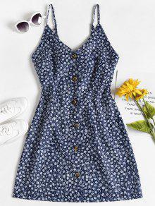زهور صغيرة زر حتى زلة اللباس - أزرق M
