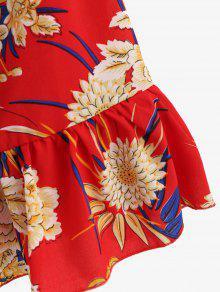 De M Floral Frente Vestido Lazo Con Amo Rojo Orient De El En Cami fa4qwpgpd7