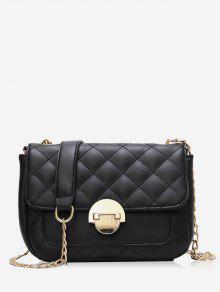حقيبة كروس على شكل سلسلة رفرف مبطن - أسود