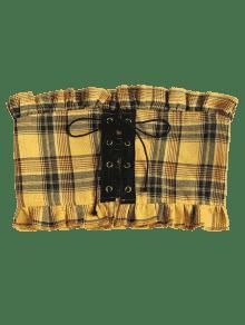 Vestido Cordones S La Y Volantes Parte En Superior Amarillo Encaje Con Con Rrq7wR