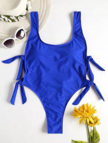 عارية الذراعين عقدة عالية الساق ملابس السباحة - الأرض الزرقاء L