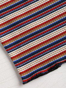 Rayas Multicolor Corto Top Hombros A Con M Acanalados wqHWRq6X