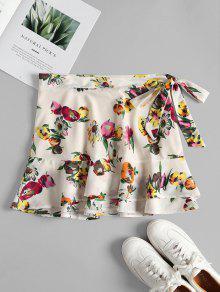 الأزهار طباعة الكشكشة الطبقات البسيطة التنورة - الأبيض الدافئ L