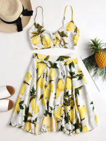 Lemon Print Cami Skirt Set - أبيض M