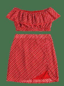 De L Amo Conjunto Falda De Estampado Hombro Rojo Exw04POqz