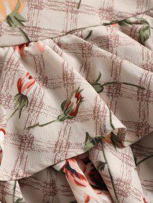 Estampado Volantes S Floral Blanco Almendra Con Vestido De AwWq67f5xp