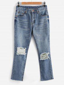 جينز انغلق بسحاب - جينز ازرق Xl