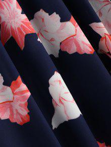 Maxi Azul Estampado Playa Con Floral Vestido De M Y w40xZYq