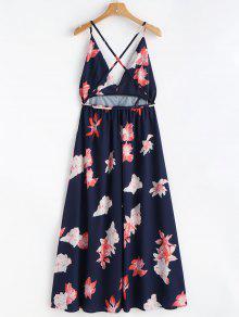 Estampado Playa De M Con Y Azul Maxi Floral Vestido Zqt5wF