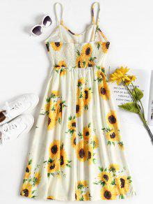 Con Vestido De 2xl A Multicolor Girasol Estampado Pierna Media q4rtxwS4a