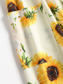 Pierna De 2xl Vestido Con Girasol Media A Estampado Multicolor 1xnfxa
