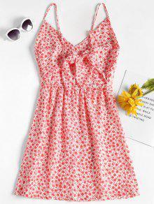 Floral Estampado L De Vestido Rojo Mini RTwqY