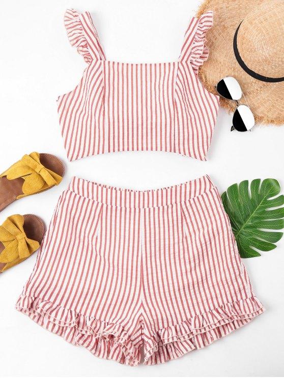 Knoten Quadratischer Hals Shorts Set - Kastanie Rot XL