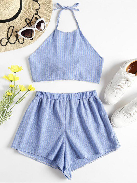 trendy Halter Striped Top and Shorts Twinset - LIGHT BLUE L