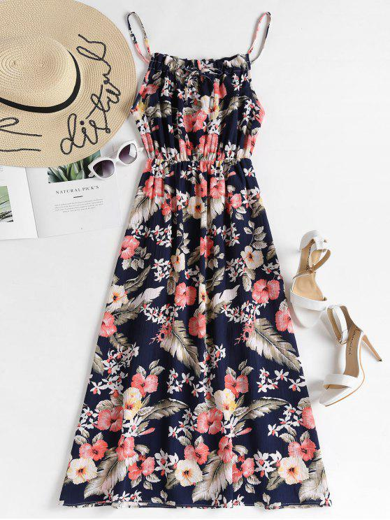 womens Elastic Waist Floral Maxi Dress - DEEP BLUE ONE SIZE