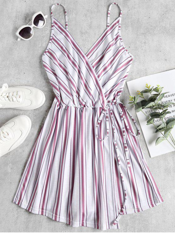 Overlap Striped Cami Romper - Branco M