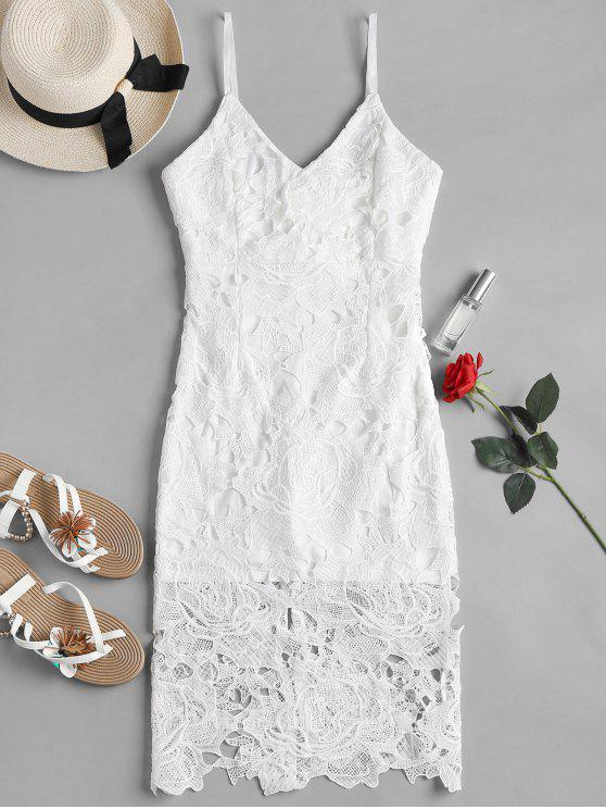 women Crochet Lace Midi Cami Bodycon Party Dress - WHITE M