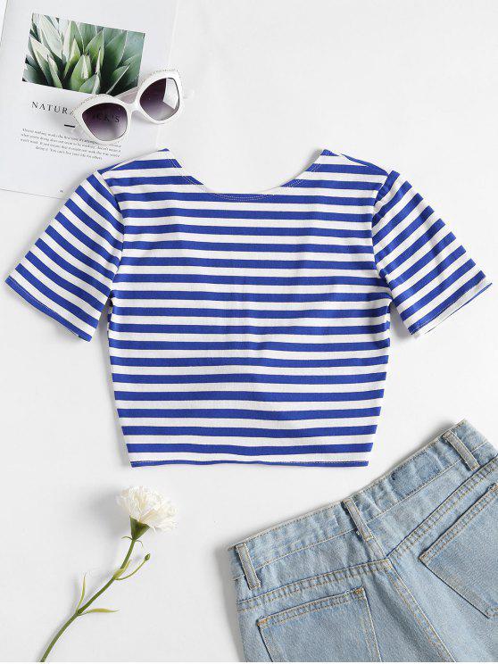 fancy Twist Crop Top - BLUE M