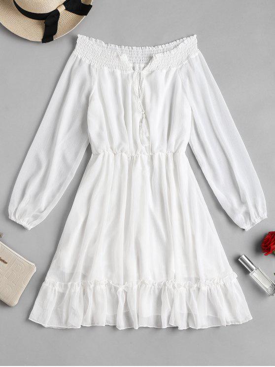 كم طويل قبالة فستان الكتف - أبيض M
