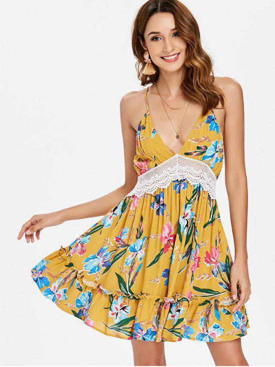 Vestido de Verão com Deslizamento Floral com Corte Baixo - Ouro Laranja XL