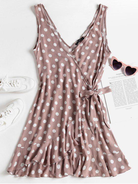 women Polka Dot Mini Ruffle Wrap Dress - ROSY BROWN M