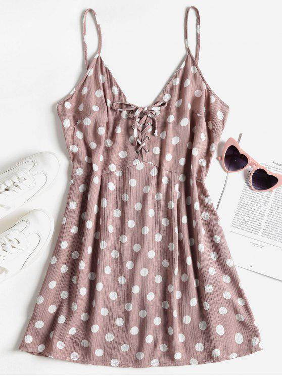 Polka Dot Lace Up Mini Sundress - Brown Rosa  L