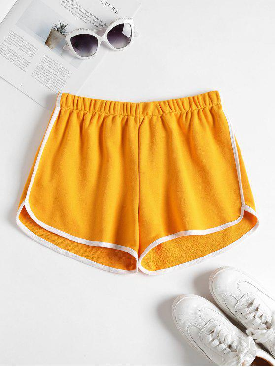 b19231fd76 28% OFF] 2019 Contrast Trim Dolphin Shorts In MUSTARD | ZAFUL