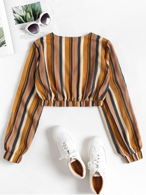 Stripes Yellow Elastic S Cropped Top Hem qxHaCq