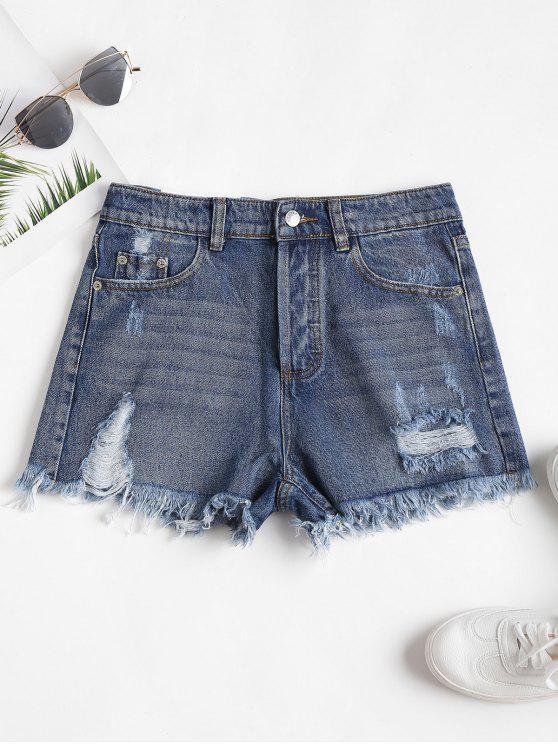 Pantaloncini A Vita Alta In Denim Strappati - Blu M