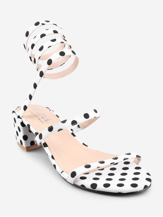 Chunky Heel Retro Polka Dot Tie Sandálias Perna - Branco 36