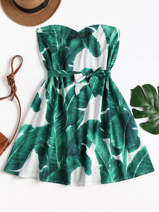 trendy Leaf Print Belted Tube Dress - LIGHT SEA GREEN S
