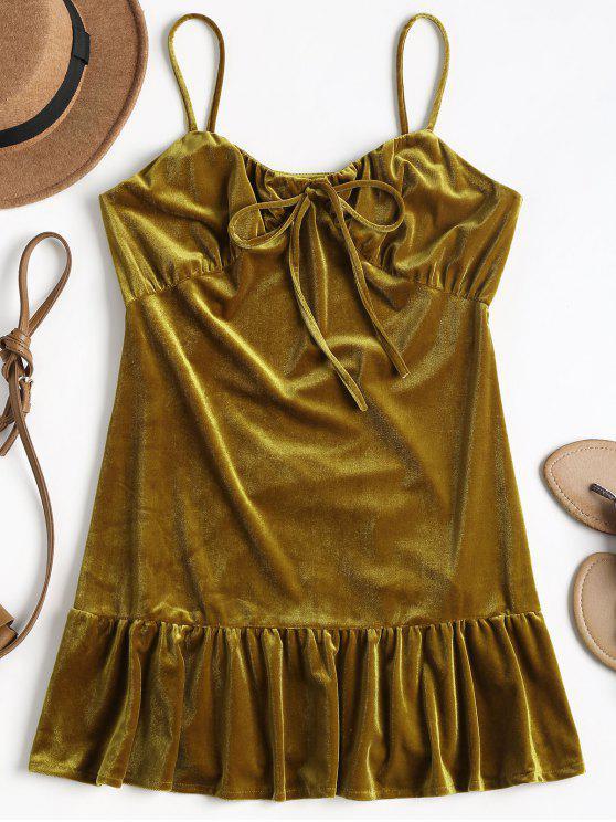 lady Shiny Cami Velvet Mini Dress - CARAMEL M