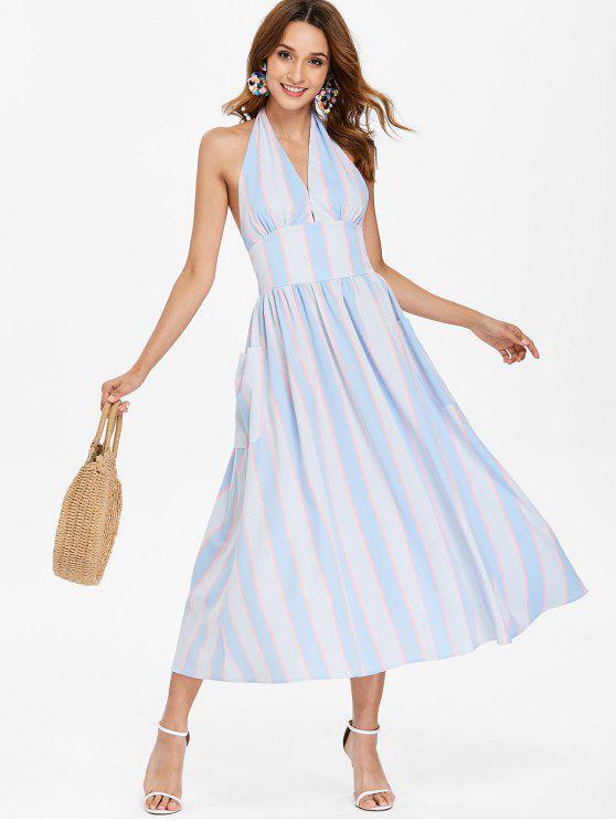 Vestido Halter Listrado - Céu Azul XL
