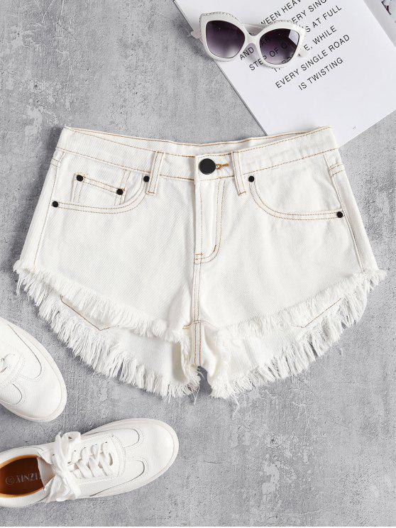 shops Mini Frayed Hem Denim Shorts - WHITE L