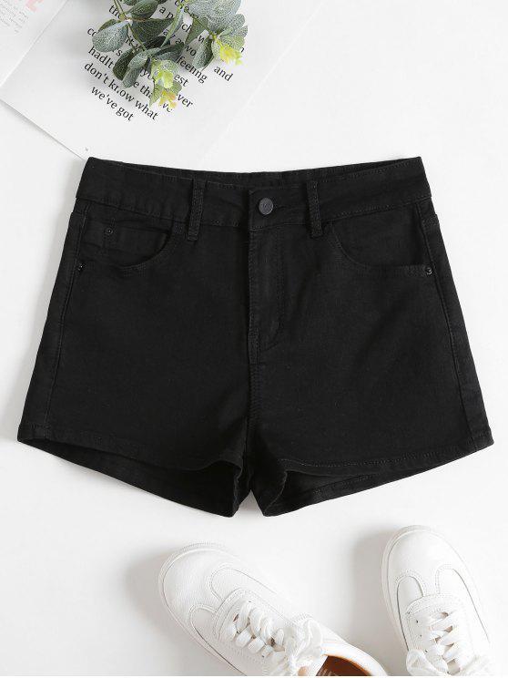 2019 Short Taille Haute En Jean en Noir M  5b9a9cb6b1e