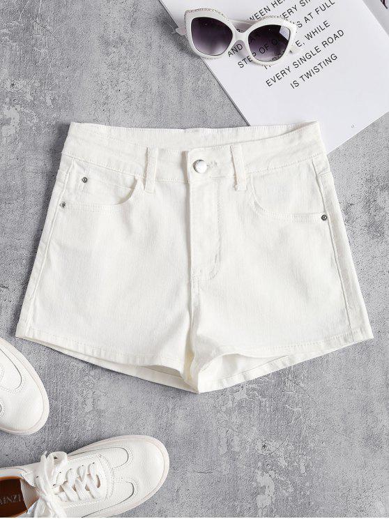 Pantalones cortos de cintura alta de mezclilla - Blanco S