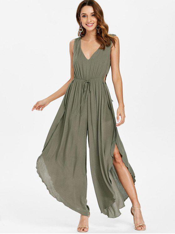 buy Backless Slit Plunge Palazzo Jumpsuit - HAZEL GREEN XL