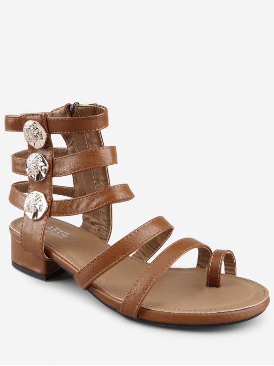 Ocio Sandalias de tiras metálicas con tacón grueso y bajo Gladiador - Marrón Oscuro 37